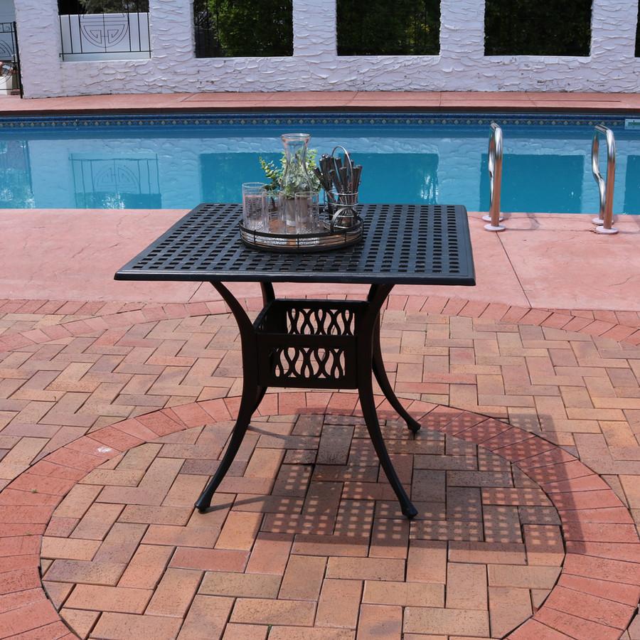 Sunnydaze Black Cast Aluminum Square Dining Table, 35-Inch