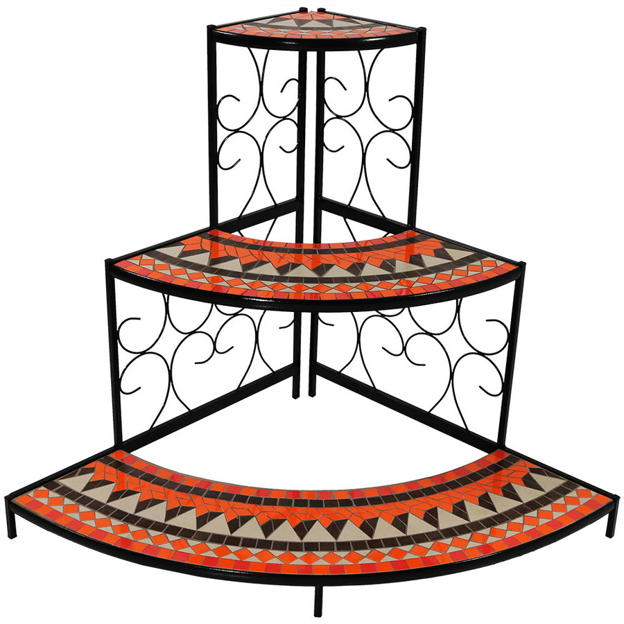 3-Tier Step Style Mosaic Tiled Indoor/Outdoor Corner Display Shelf