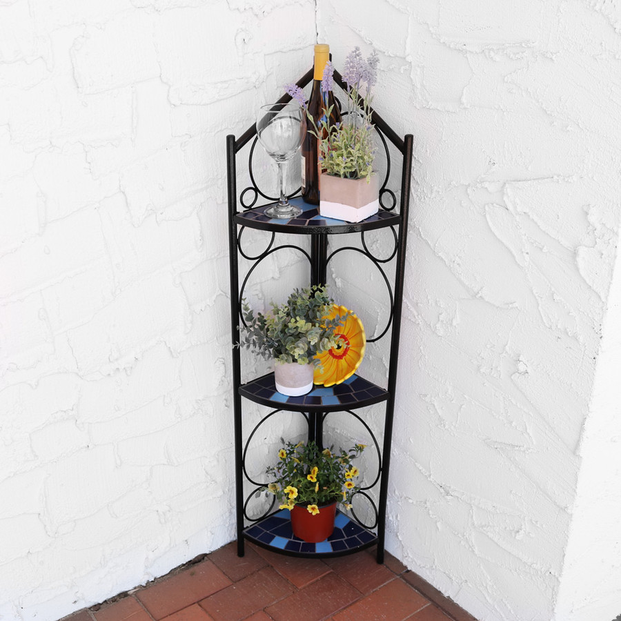 3-Tier Mosaic Tiled Indoor/Outdoor Corner Display Shelf