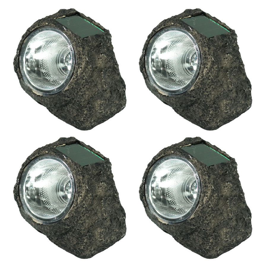 Rock With White Solar LED Light - Set of 4
