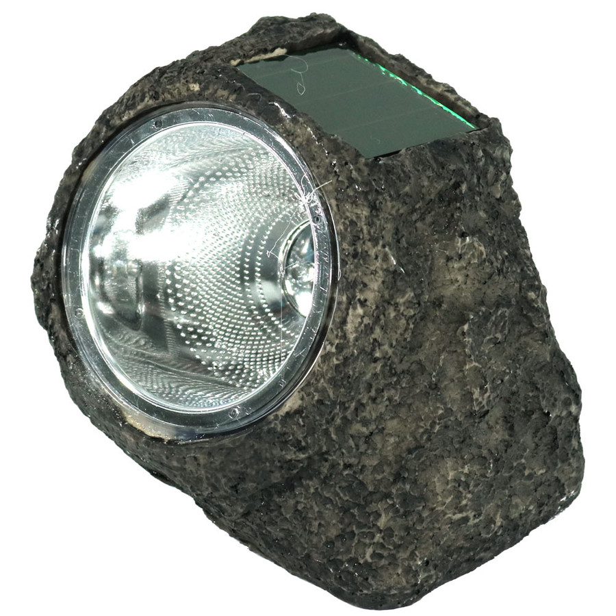 Rock With White Solar LED Light