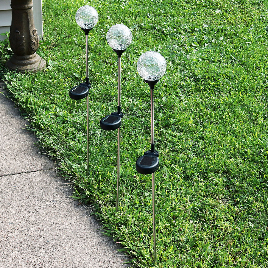 Sunnydaze Decorative Cracked Glass Ball with Multi-Colored Solar LED Stake Light - Set of 3