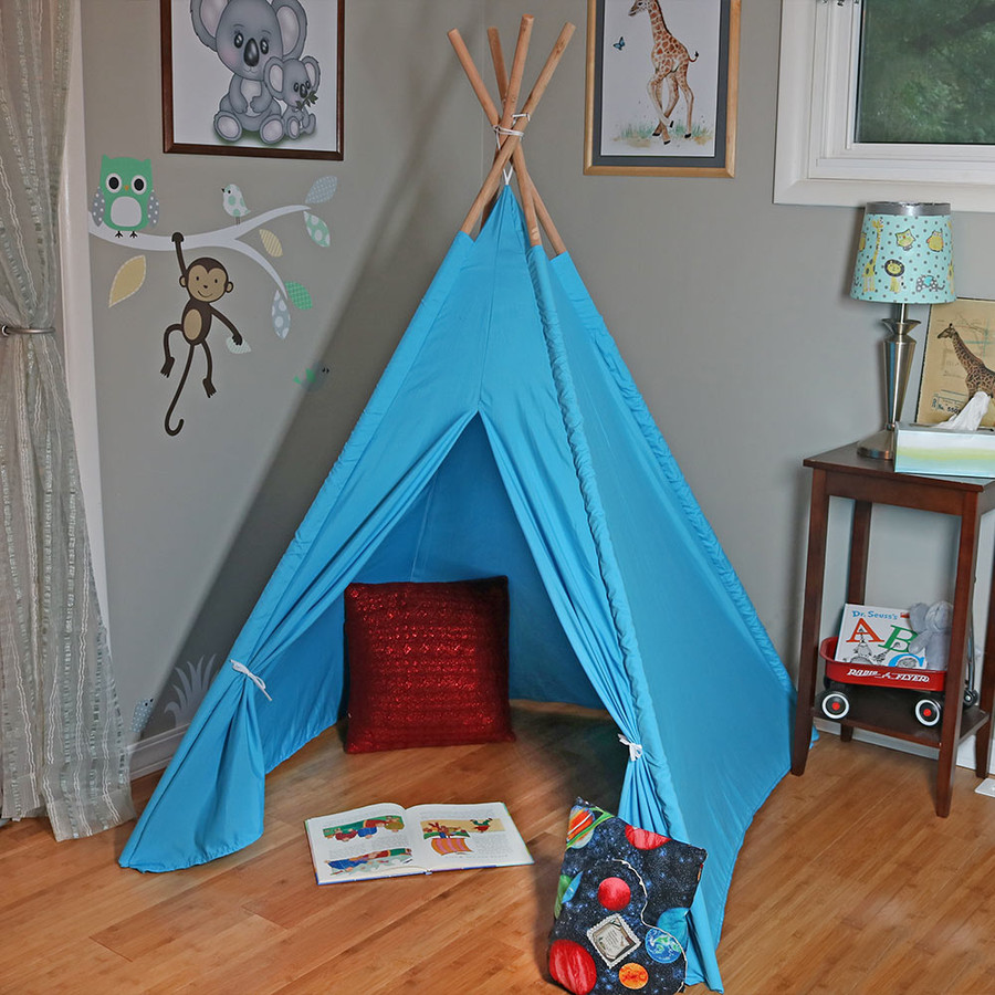 Sunnydaze Large Polyester Kids' Teepee Play Tent with Carrying Case, 4-Pole Style, 5-Foot Tall