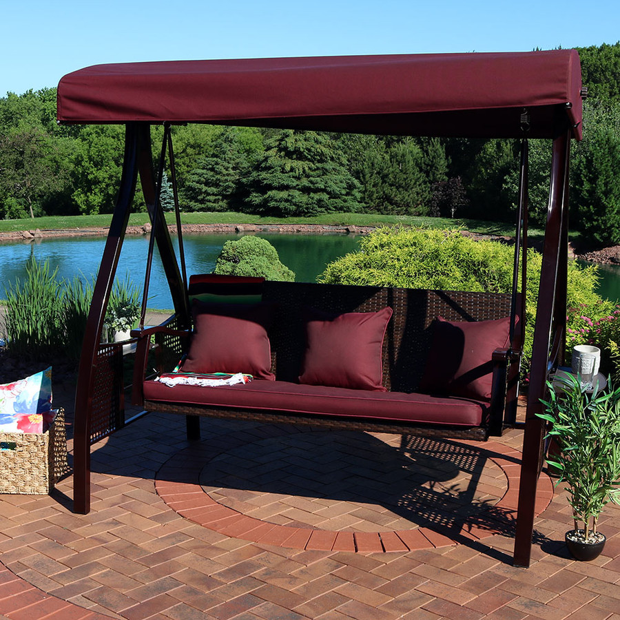 Deluxe Steel Frame Maroon Cushioned Garden Swing with Canopy and Side Tables