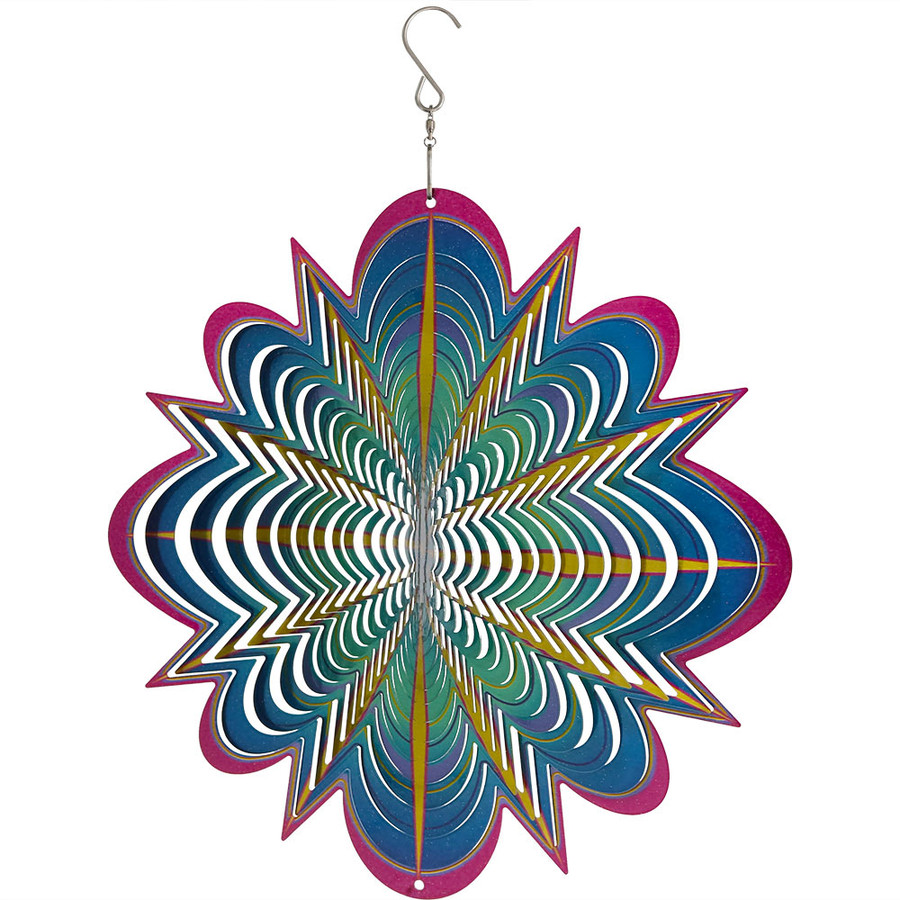 Sunnydaze 3D Blue Dream Wind Spinner with Hook, 12-Inch