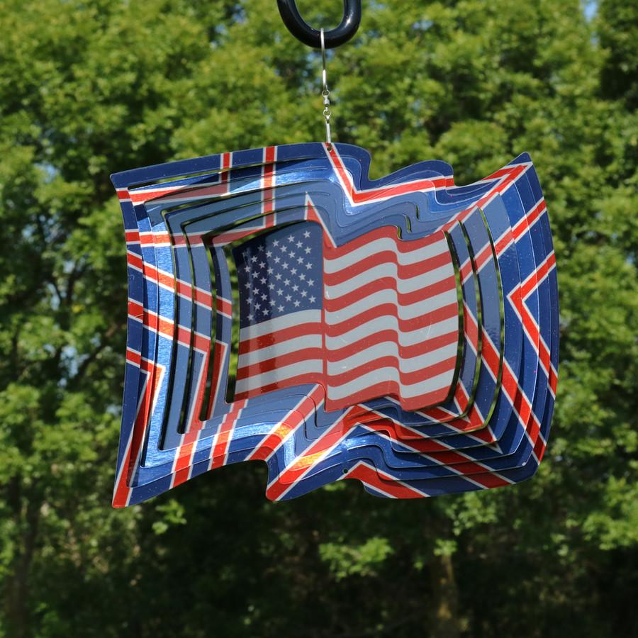3D American Flag Wind Spinner