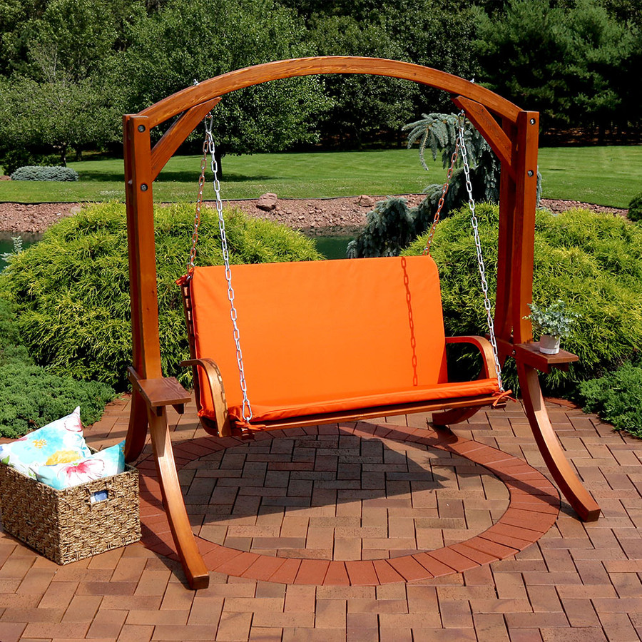 Wooden Patio Swing, Burnt Orange