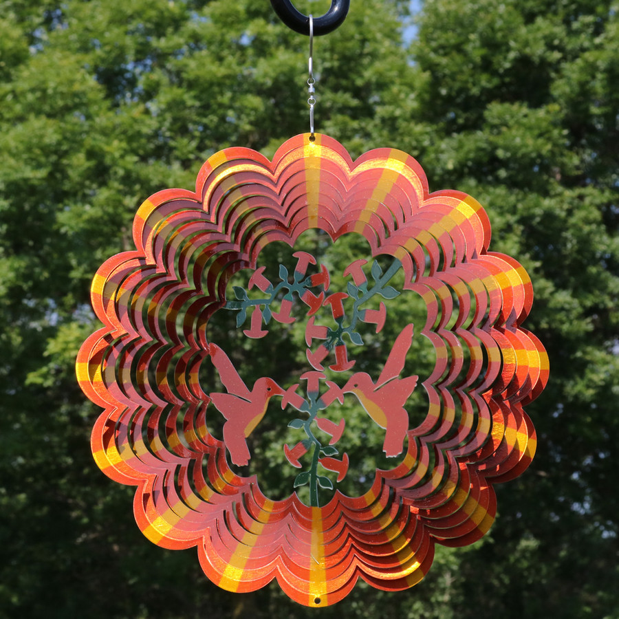 Orange Hummingbird Wind Spinner