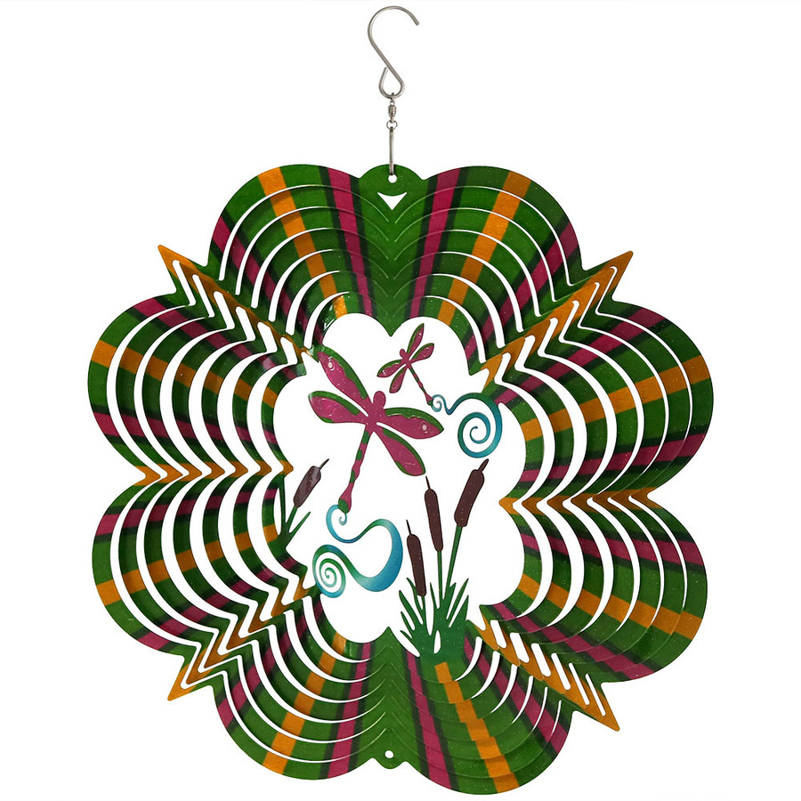 "Sunnydaze 12"" Reflective 3D Whirligig Dragonfly Wind Spinner with Hook"