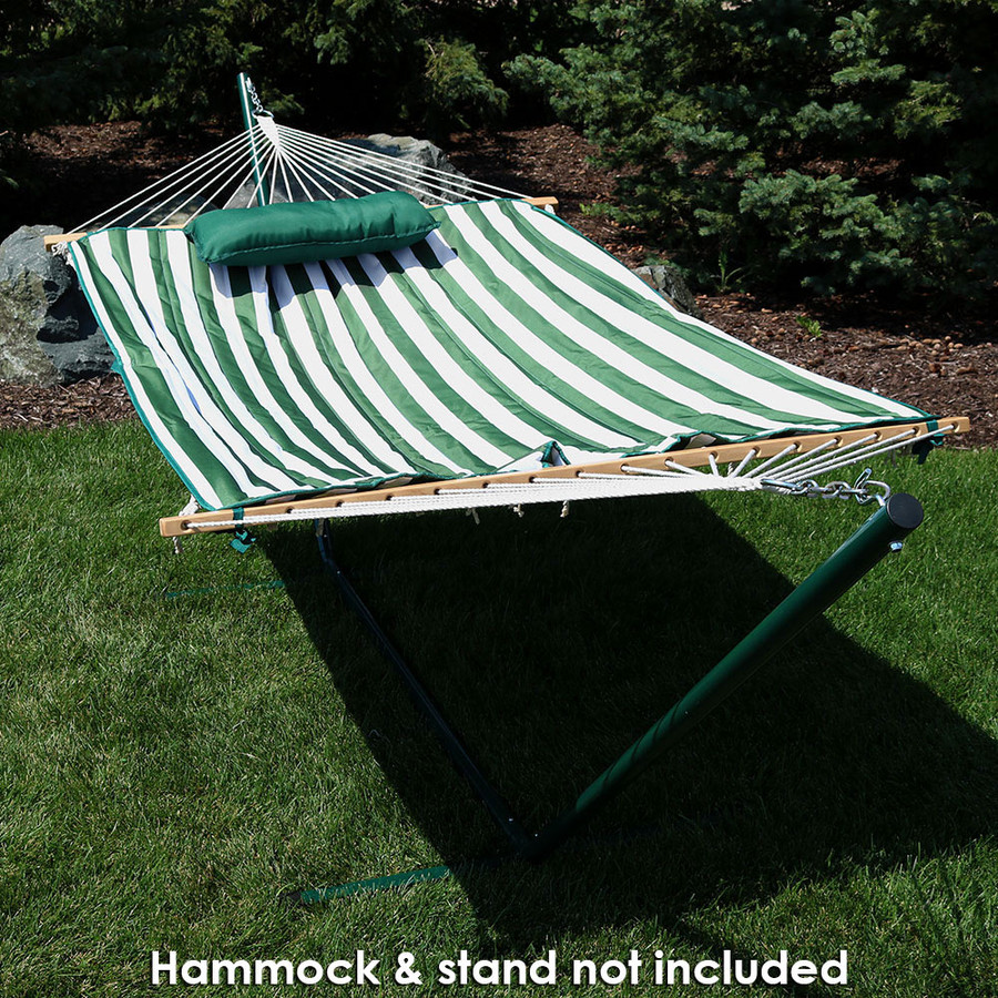 Green and White Stripe Outdoor (Hammock and Stand NOT Included)