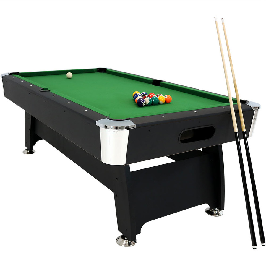 Sunnydaze 7-Foot Pool Table with Ball Return, Triangle, Balls, Cues, Chalk and Brush