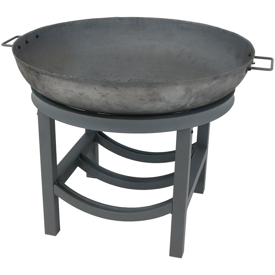 Sunnydaze 30-Inch Cast Iron Fire Pit with Built-In Log Rack