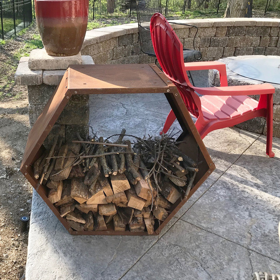 Sunnydaze 30-Inch Hexagon Rustic Honeycomb Firewood Log Rack