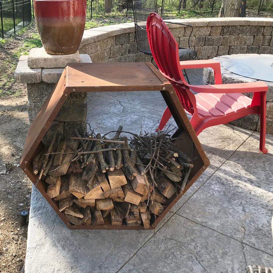 Sunnydaze 30-Inch Hexagon Rustic Honeycomb Firewood Log Rack