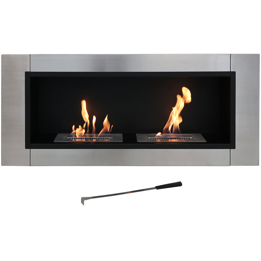 Sunnydaze Scalda Ventless Wall Mounted Bio-Ethanol Fireplace, 43-Inch
