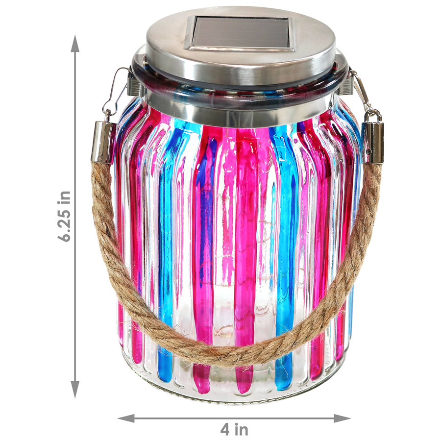 Blue and Pink Striped Solar Lantern Glass Jar Light, Dimensions