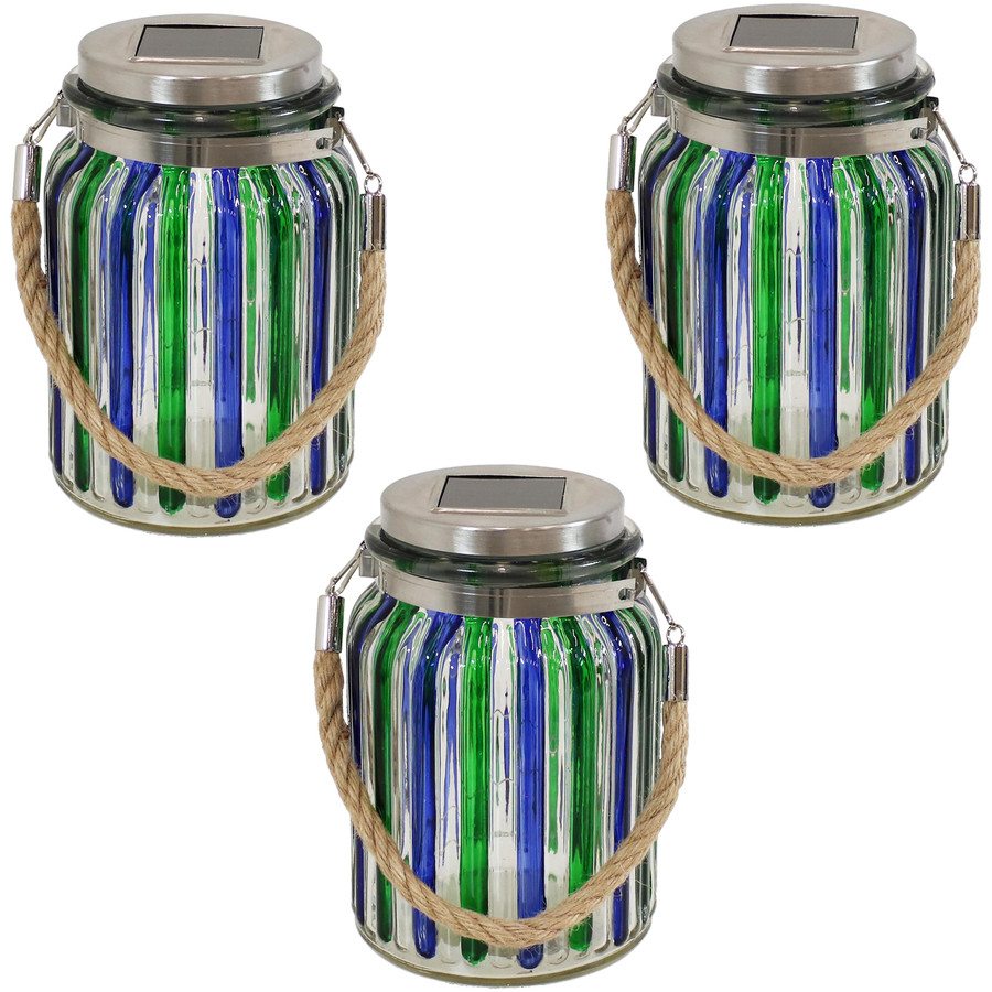 Blue and Green  Striped Jars Set of 3
