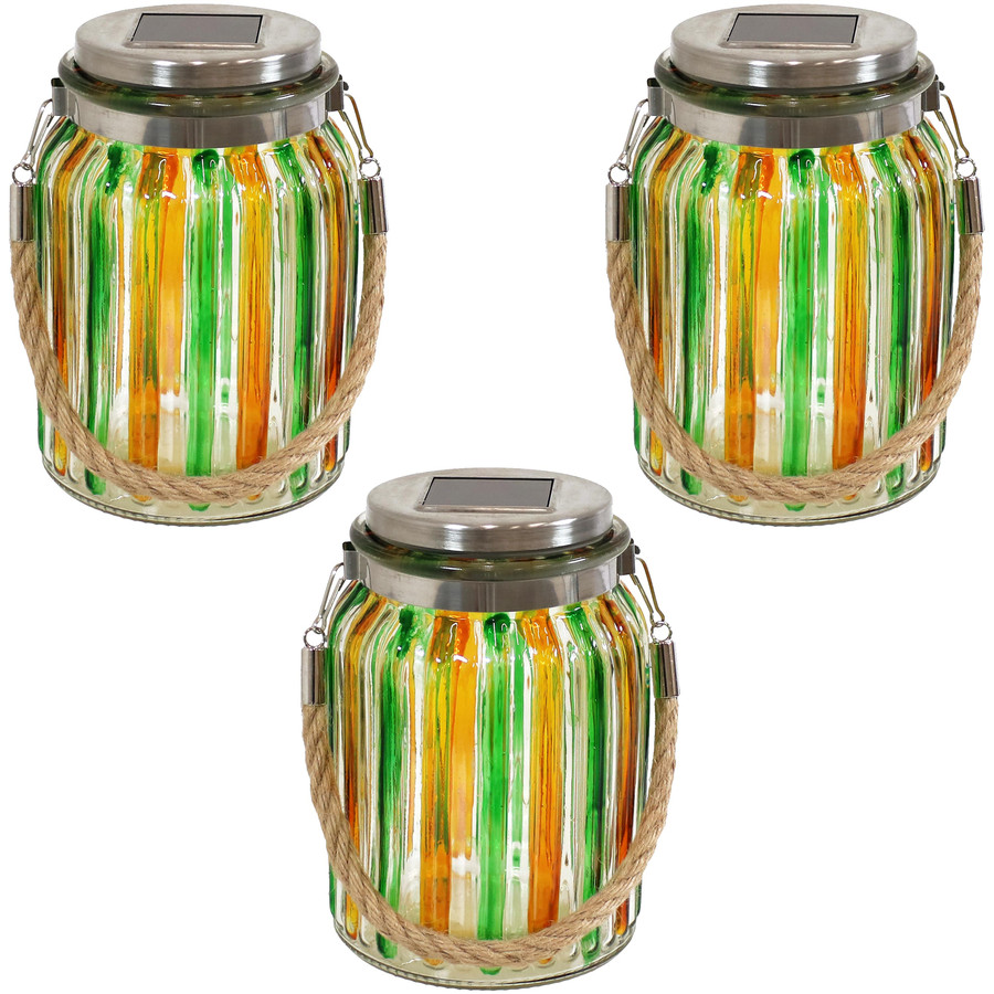 Green and Gold Striped Set of 3 Jar Lights