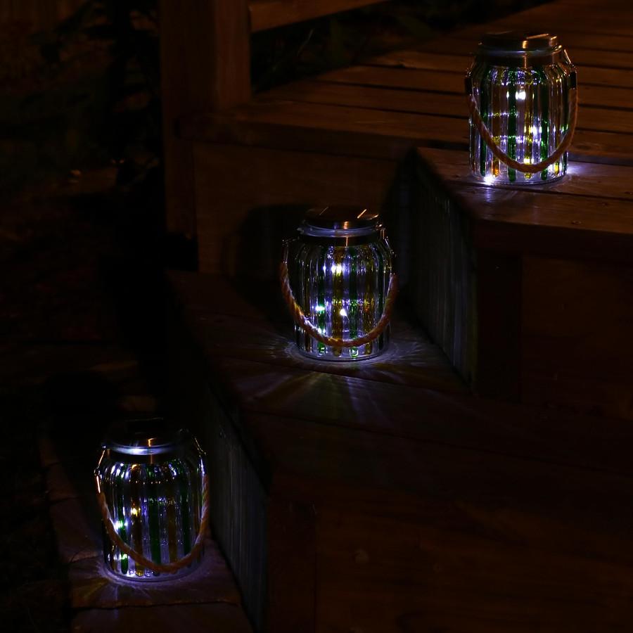 Sunnydaze Striped Solar Lantern Glass Jar Light with White LED String Lights, Set of 3
