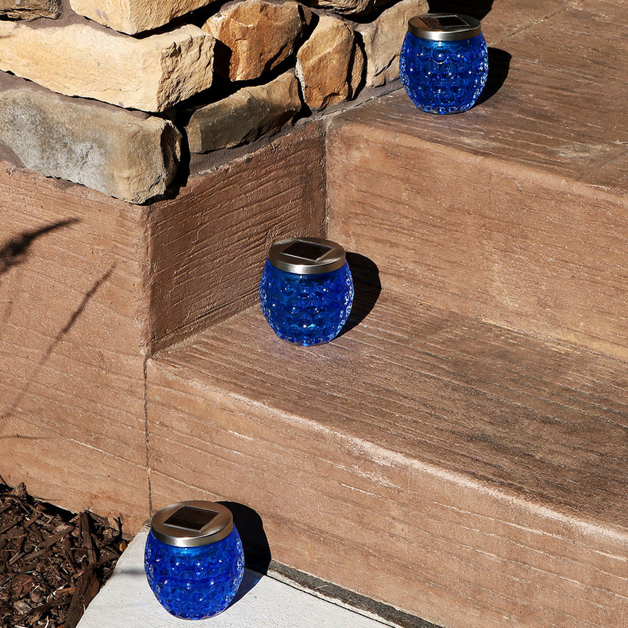 Crystal Blue Glass Jar Solar Lights