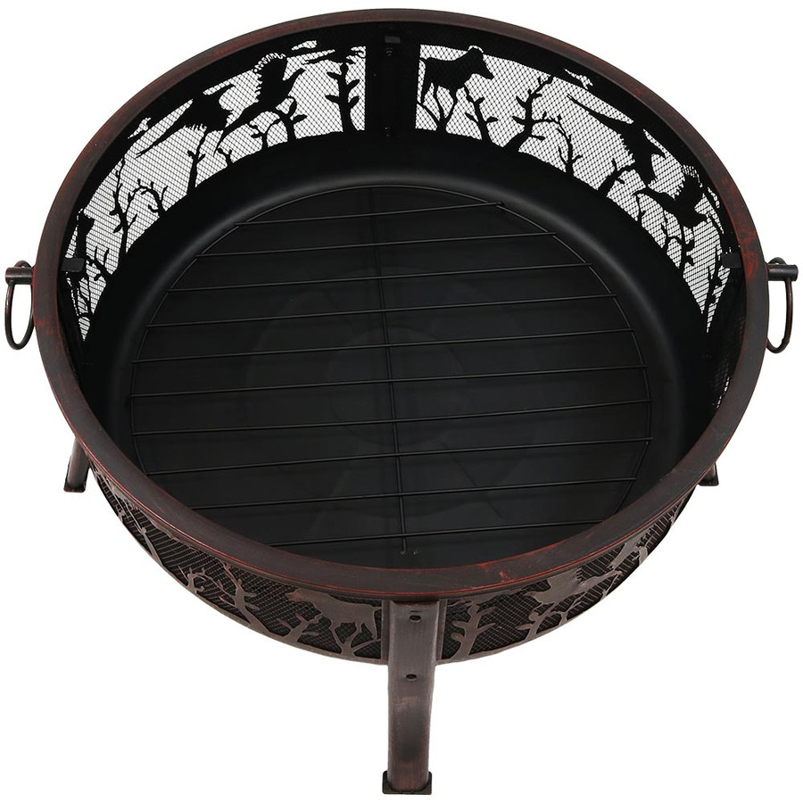 Sunnydaze Pheasant Hunting Fire Pit, 30-Inch Diameter, with Spark Screen