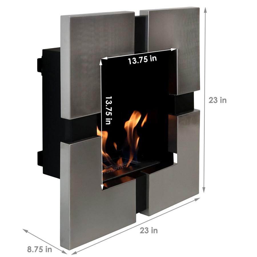 Sunnydaze Chaleur Ventless Wall Mounted Bio-Ethanol Fireplace, 23-Inch
