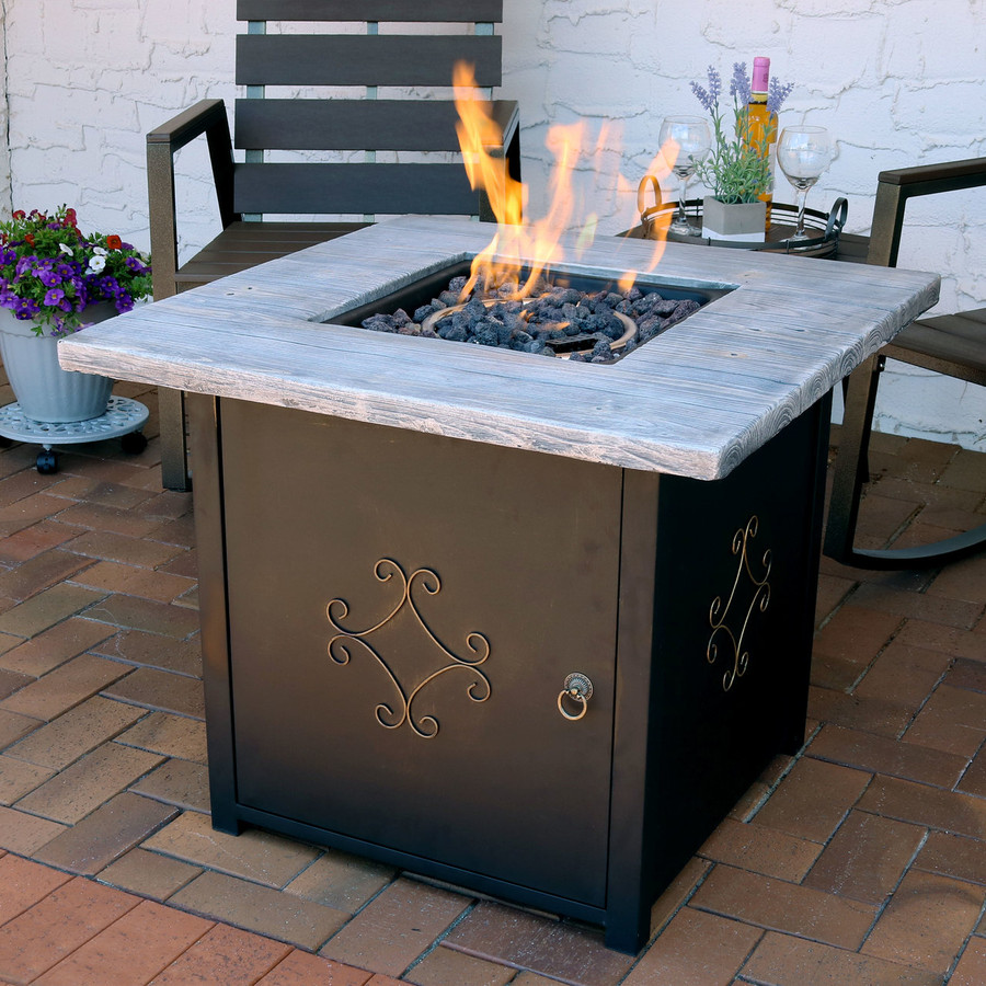 Square Propane Gas Fire Pit Table