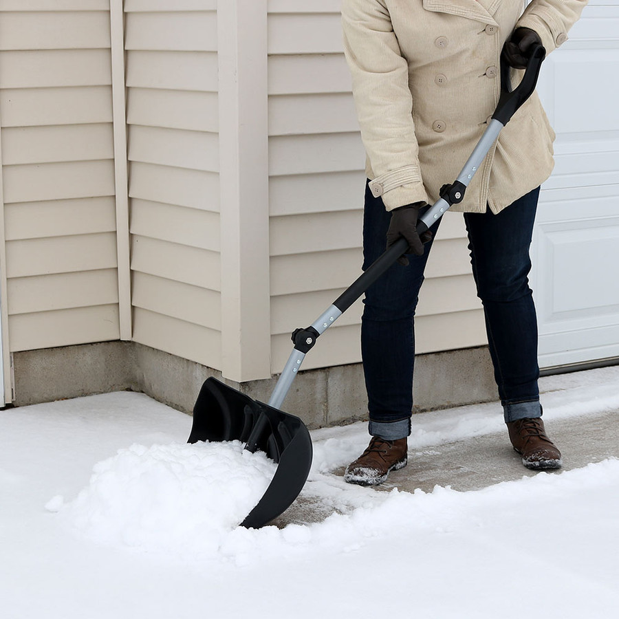 CASL Brands 18-Inch Adjustable Ergonomic Snow Shovel Pusher Combo Design