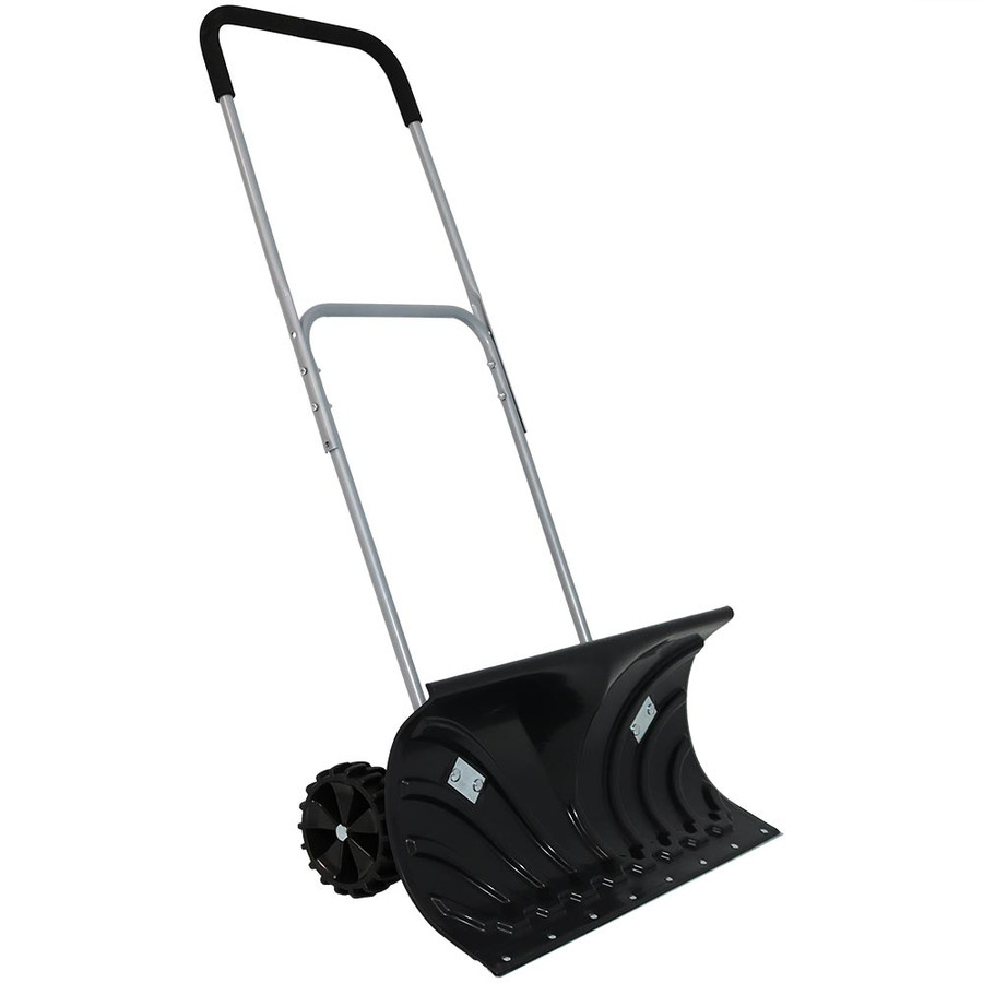 CASL Brands Heavy-Duty Rolling 26-Inch Snow Pusher with 6-Inch Wheels and Adjustable Handle