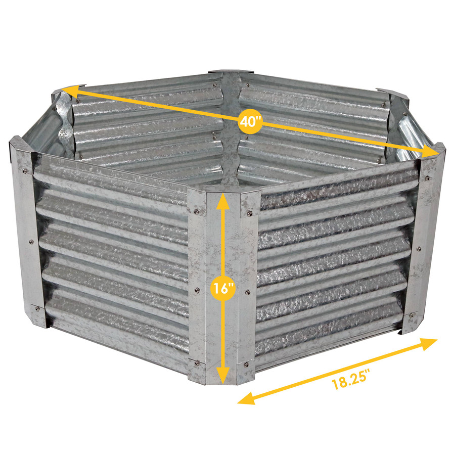 Sunnydaze Galvanized Steel Raised Garden Bed Kit