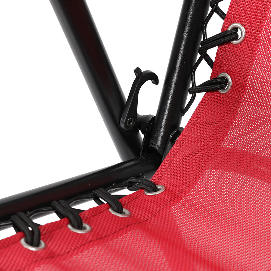 Closeup Red Outdoor Suspension Folding Patio Chairs with Side Table