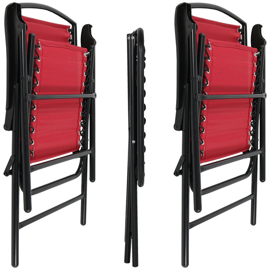 Red Outdoor Suspension Folding Patio Chairs with Side Table, Folded