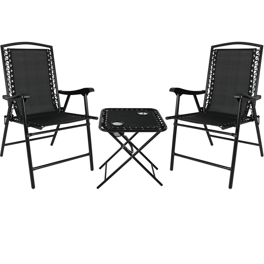 Black Red Outdoor Suspension Folding Patio Chairs with Side Table