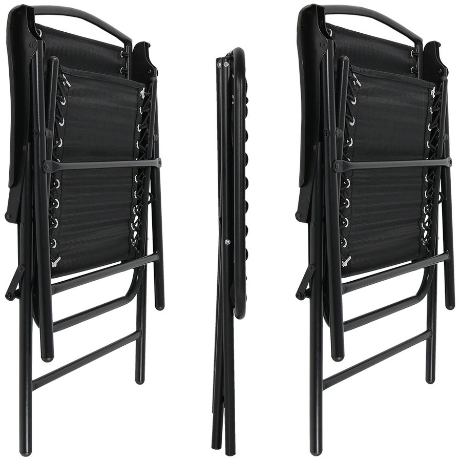 Black Outdoor Suspension Folding Patio Chairs with Side Table, Folded