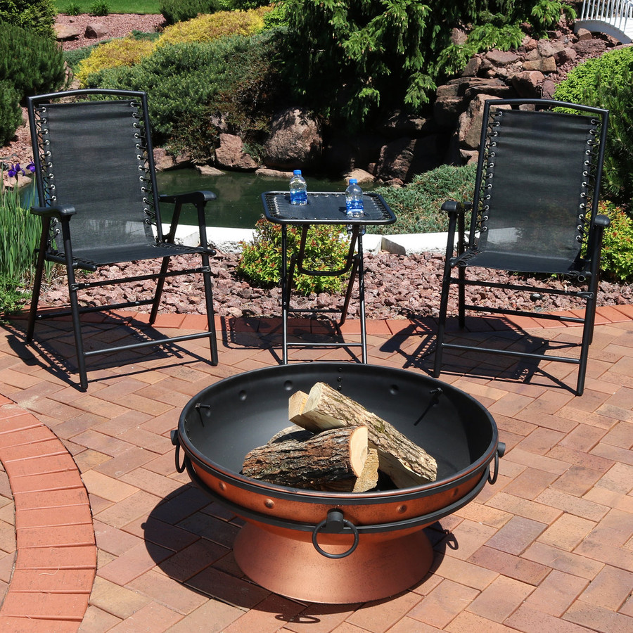 Black Outdoor Suspension Folding Patio Chairs with Side Table (Fire Pit not Included)