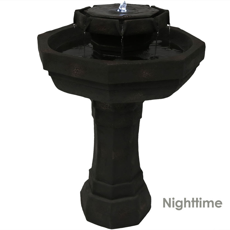 2-Tier Flowing Citadel Birdbath Fountain, Nighttime