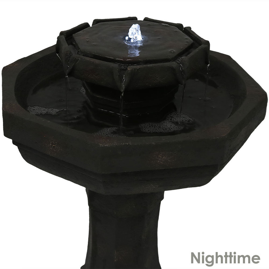 Closeup of Top of Fountain, Nighttime