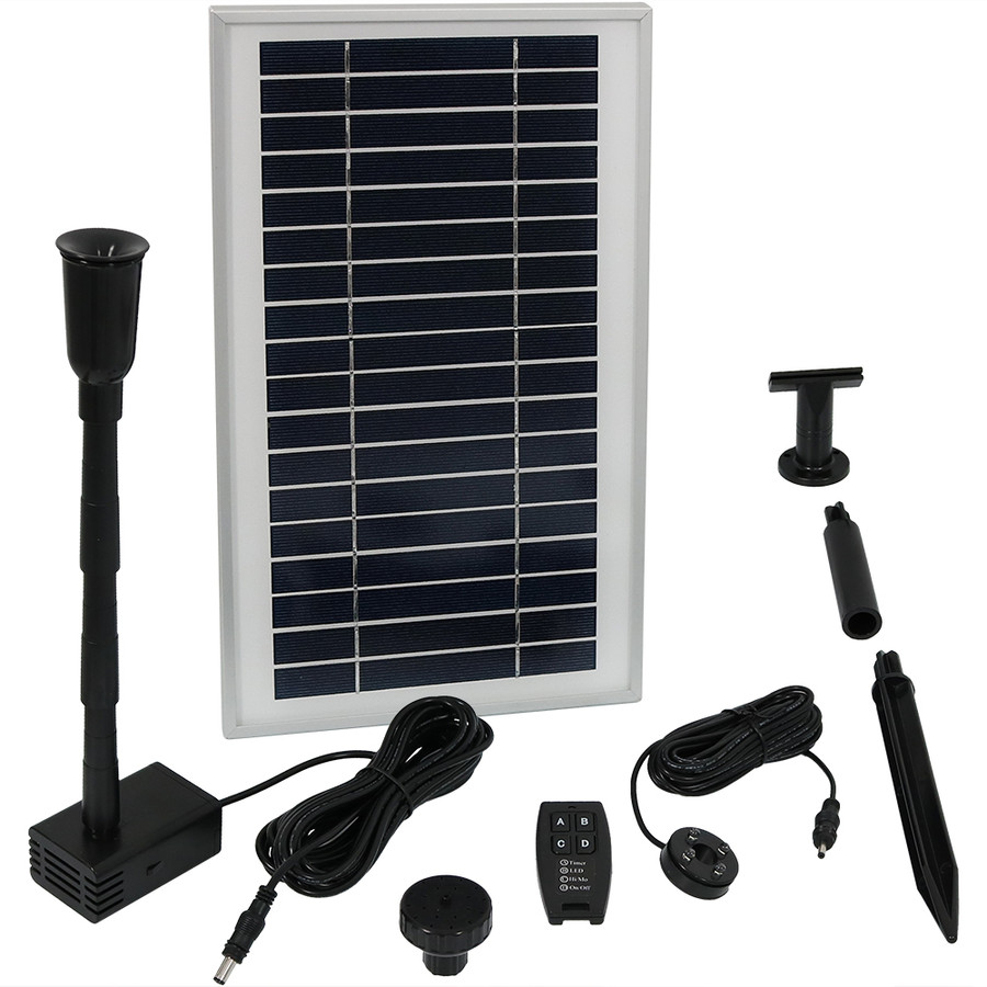 Sunnydaze Solar Pump and Solar Panel Kit with Battery Pack, Remote Control and LED Light, 105 GPH, 55-Inch Lift