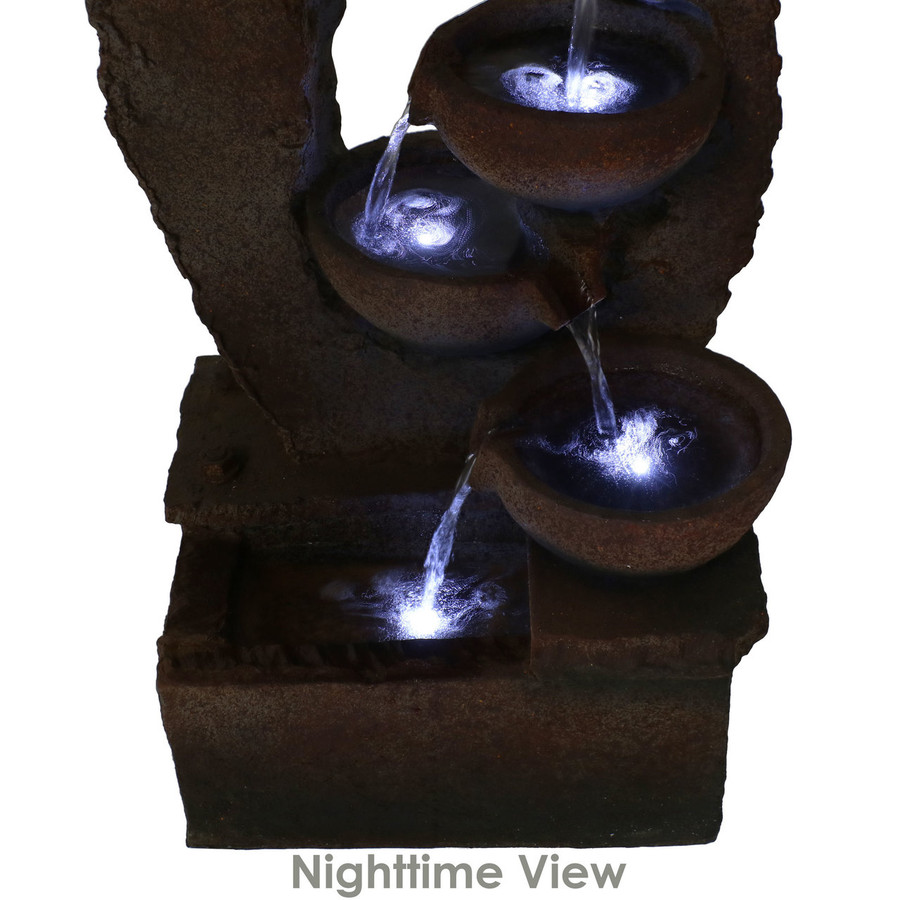 Sunnydaze 5-Tier Rustic Cascading Bowls Outdoor Fountain with LED Lights, 32-Inch Tall
