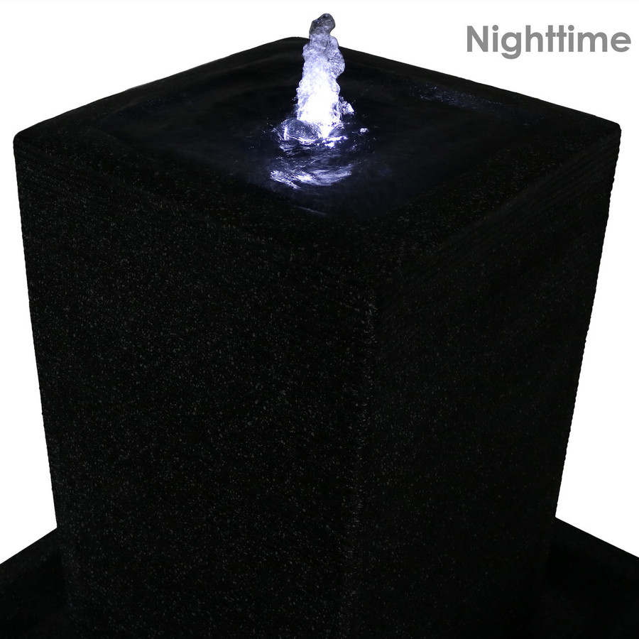 Top Nighttime of Large Pillar Outdoor Water Fountain with LED Lights
