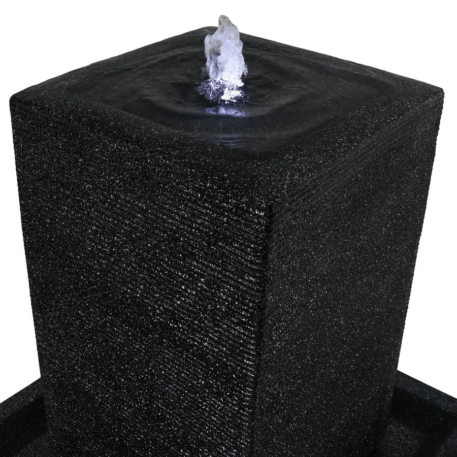 Top of Large Pillar Outdoor Water Fountain with LED Lights