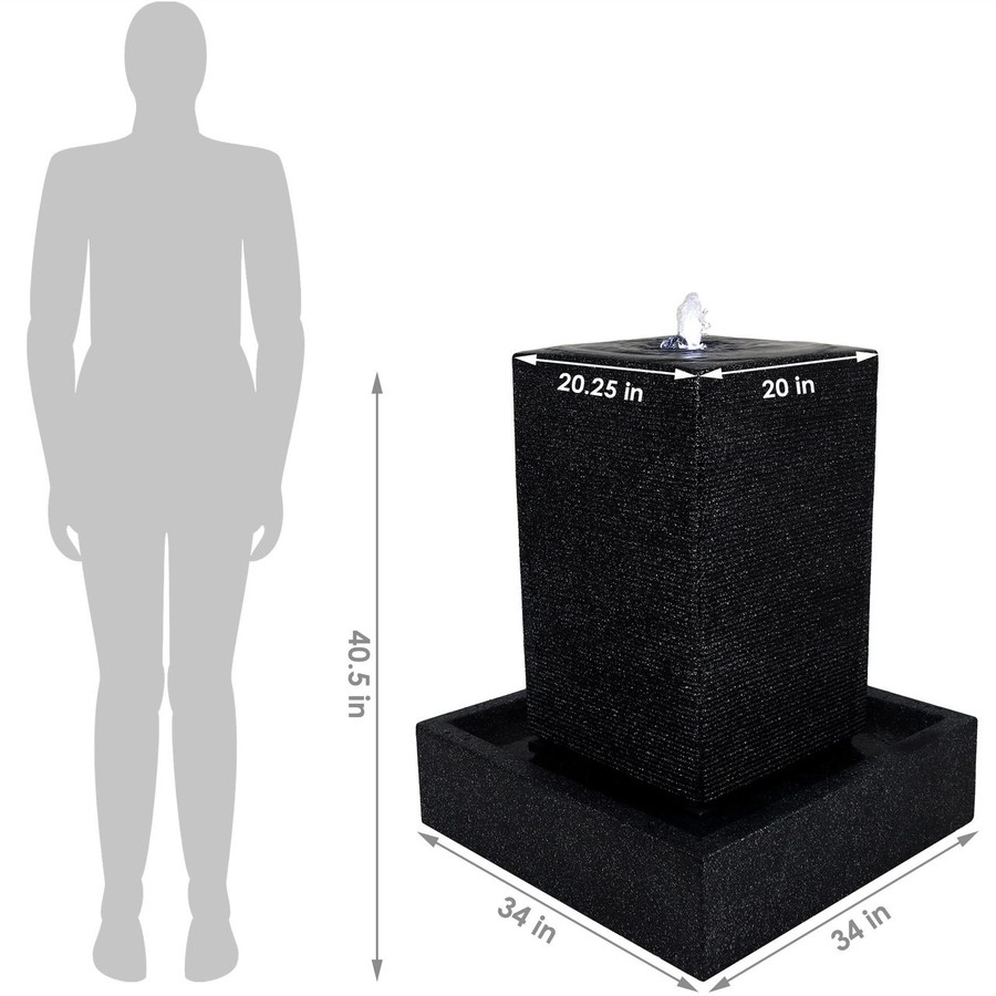 Dimensions of the Large Pillar Outdoor Water Fountain with LED Lights