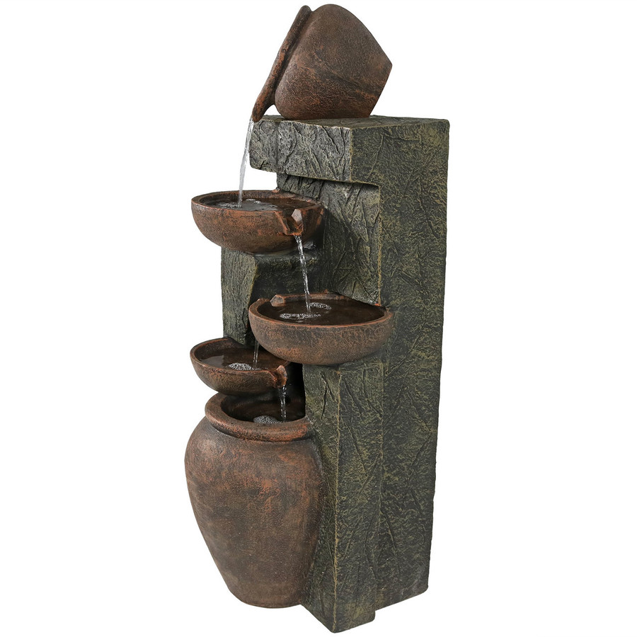 Sunnydaze Cascading Earthenware Pottery Stream Fountain, 39-Inch Tall