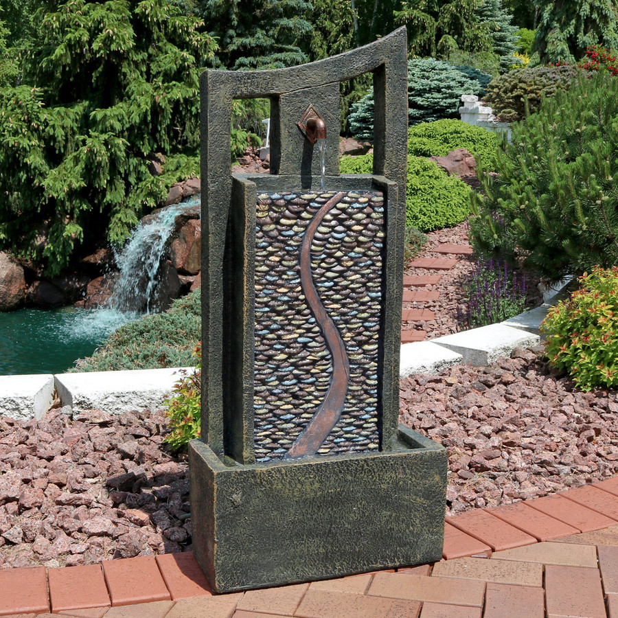 Modern Road Outdoor Fountain with LED Light Daytime