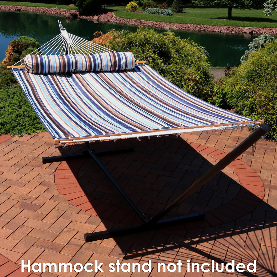 Sunnydaze 2 Person Quilted Fabric Hammock with Spreader Bars, Ocean Isle