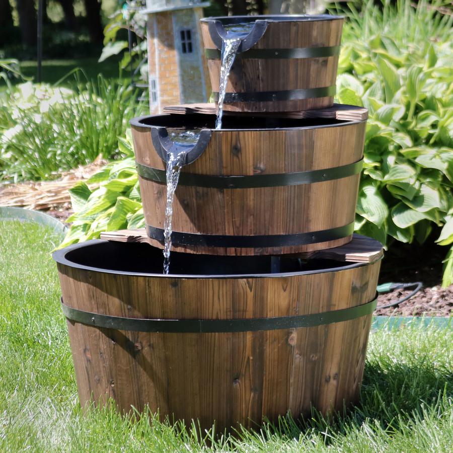 Rustic 3-Tier Wood Barrel Water Fountain