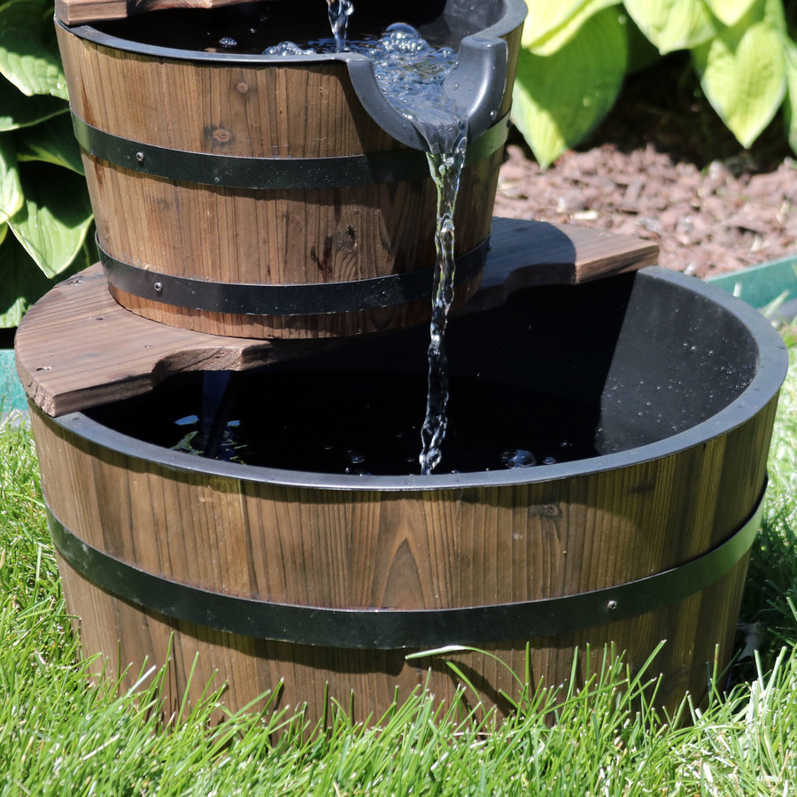 Sunnydaze Country 2-Tier Wood Barrel Water Fountain with Hand Pump, 23-Inch Tall