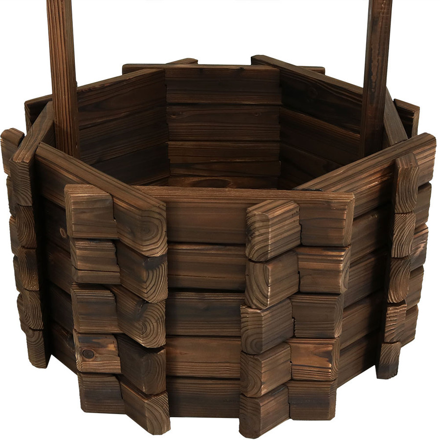 Bottom of Wood Wishing Well Outdoor Garden Planter