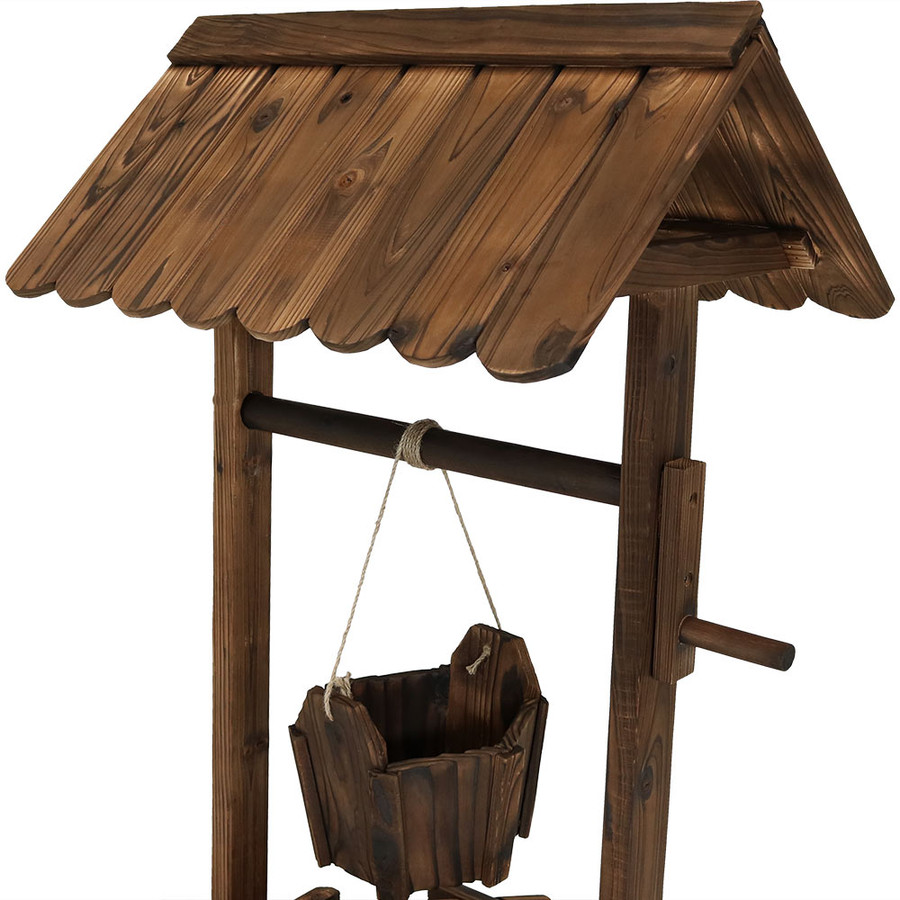 Top of Wood Wishing Well Outdoor Garden Planter