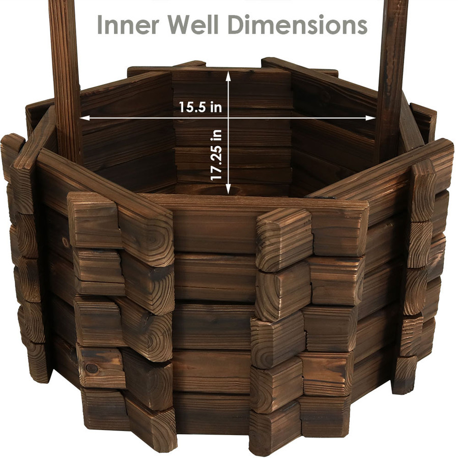 Inner Dimensions of Wood Wishing Well Outdoor Garden Planter